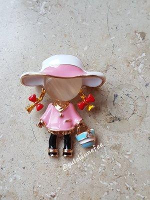 Brosche süßes Mädchen mit rosa Hut Opal Gesicht goldfarben