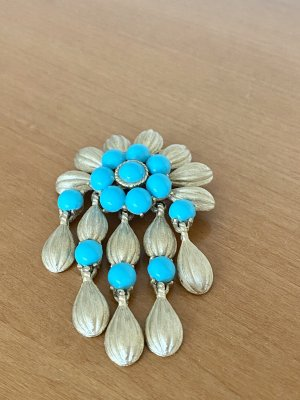 Trifari Brooch gold-colored-turquoise