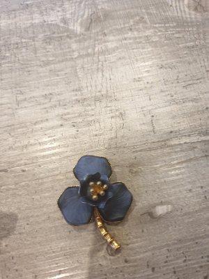 Brooch gold-colored-cornflower blue