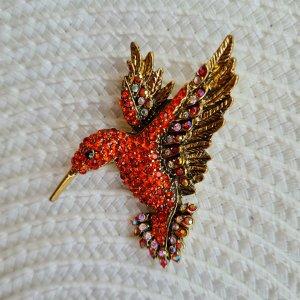 Glitz & Glam Broche rojo-rojo ladrillo
