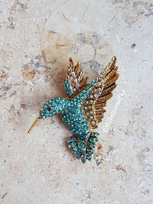 Brosche Vogel Kolibri türkis Strass