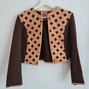 Brown Blazer jacket with cork inserts, cotton and wool