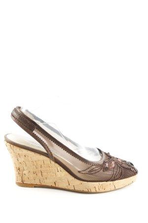 Brunella Sandalias de tacón con plataforma marrón-crema look efecto mojado