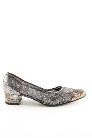 Brunella Pantofola argento-bronzo motivo floreale con glitter