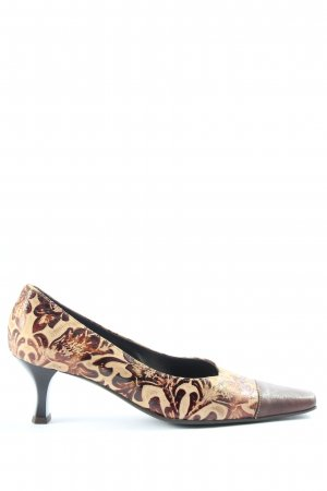Brunella Pointed Toe Pumps natural white-brown flower pattern casual look