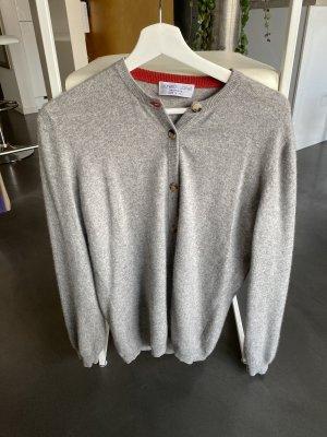 Brunello Cucinelli Pullover in cashmere argento-rosso scuro