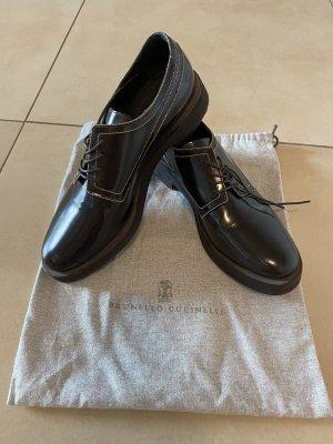 Brunello Cucinelli Derby czarno-brązowy-srebrny