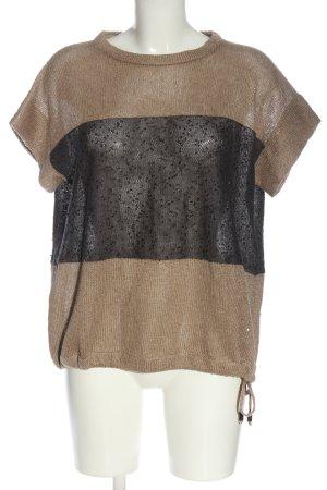 Brunello Cucinelli Short Sleeve Sweater brown-black casual look
