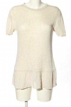 Brunello Cucinelli Short Sleeve Sweater natural white cable stitch casual look