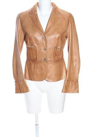 Brunello Cucinelli Leder-Blazer hellorange Casual-Look