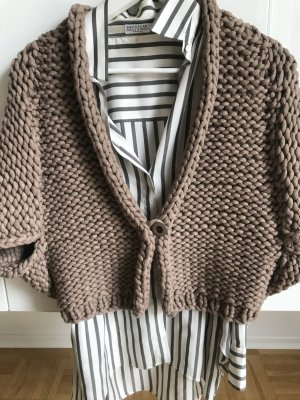 Brunello Cucinelli Cardigan in maglia marrone-bronzo Cotone