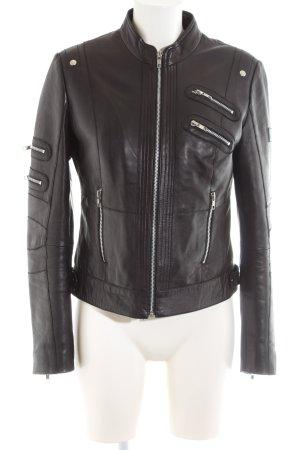 Bruno Banani Leather Jacket black elegant