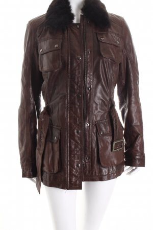 Bruno Banani Leather Jacket dark brown