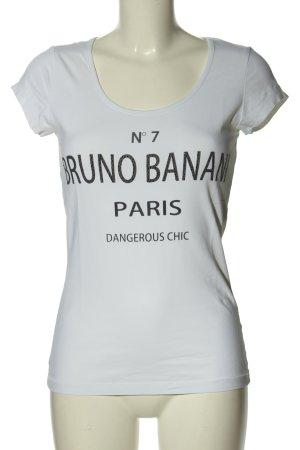 Bruno Banani Długa koszulka biały-czarny Wydrukowane logo W stylu casual