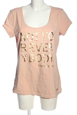 Bruno Banani T-shirt imprimé rose chair lettrage imprimé style décontracté