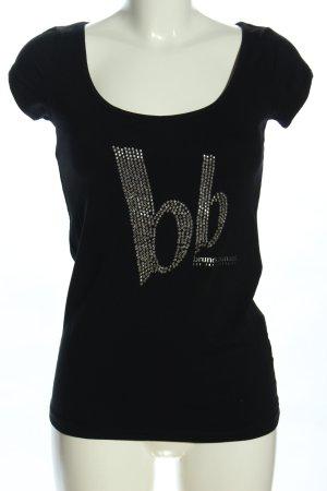 Bruno Banani Print-Shirt schwarz Schriftzug gedruckt Casual-Look