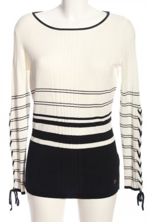 Bruno Banani Crewneck Sweater white-black striped pattern casual look