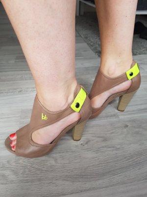 Bruno Banani Peep Toe Pumps beige-neon yellow