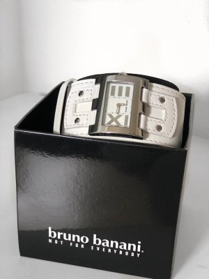 Bruno Banani Horloge met lederen riempje wit
