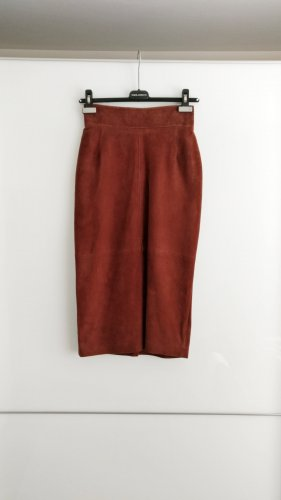 Bruno Magli Leather Skirt brown red