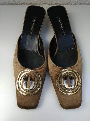 BRUNO MAGLI Sandalen Gr.39,5 Pantoletten Braun Applikation Gold Bronze