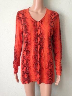 Bruno Manetti Knitted Sweater neon orange-black mixture fibre