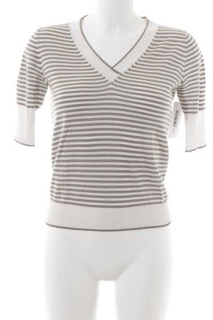 Bruno Manetti Short Sleeve Sweater natural white-light brown striped pattern