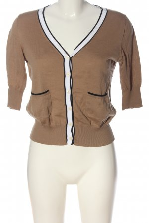 Bruno Manetti Short Sleeve Knitted Jacket brown-white striped pattern