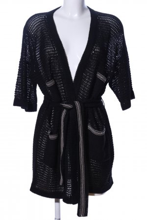 Bruno Manetti Knitted Wrap Cardigan black-light grey casual look