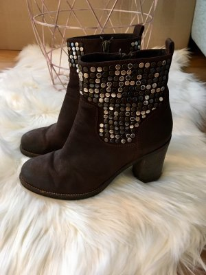 Bruno Premi Zipper Booties dark brown leather