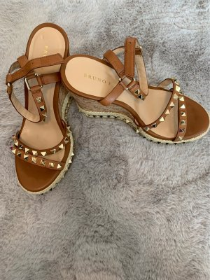 Bruno Premi Platform Sandals brown-gold-colored