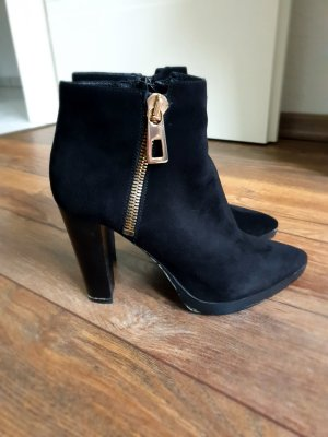 Bruno Premi Zipper Booties black-gold-colored