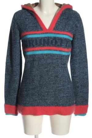 Brunotti Pull à capuche bleu-rouge moucheté style décontracté