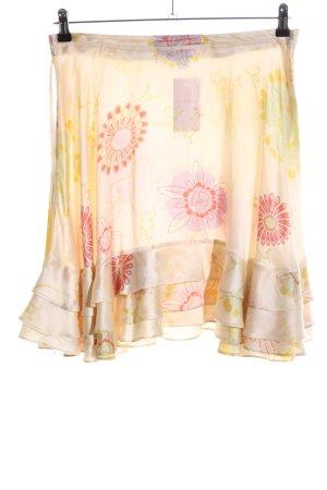 Bruuns bazaar Rozkloszowana spódnica bladożółty Wzór w kwiaty