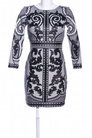 BSB Collection Longsleeve Dress light grey-black abstract pattern casual look
