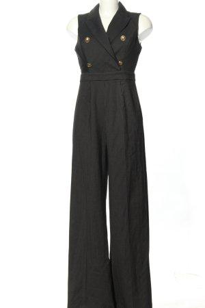 BSB Collection Langer Jumpsuit zwart gestreept patroon zakelijke stijl