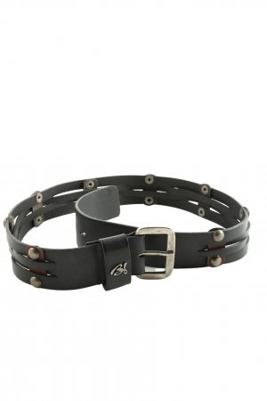 BSB Collection Leather Belt black-silver-colored casual look