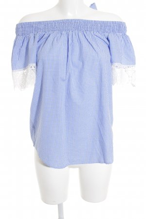 BSB Collection T-Shirt white-blue check pattern casual look
