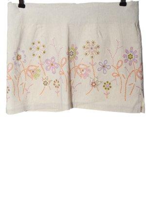 BSB Jeans Mini-jupe blanc cassé motif de fleur style décontracté