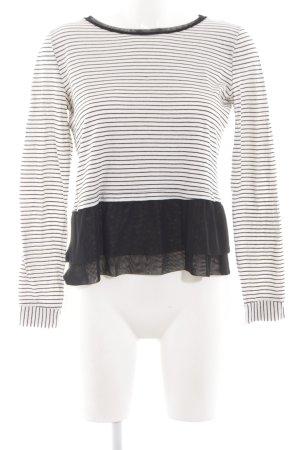 BSB Jeans Longsleeve weiß-schwarz Streifenmuster Casual-Look