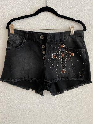 BSB Jeans Short en jean noir-gris foncé coton