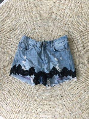 BSB Jeans Short en jean bleu pâle-noir coton