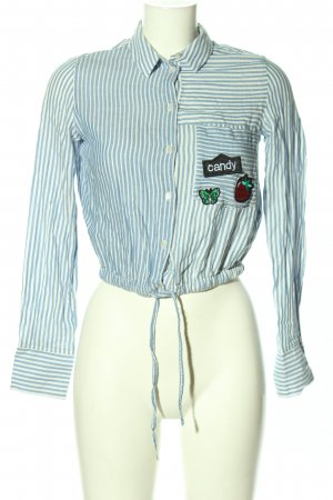 BSK by Bershka Shirt Blouse blue-white striped pattern casual look