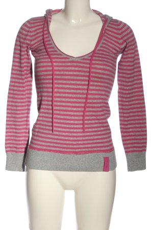 BSK by Bershka Hooded Sweater pink-light grey striped pattern casual look
