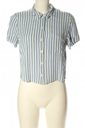 BSK by Bershka Short Sleeved Blouse blue-white striped pattern casual look
