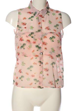 BSK by Bershka Transparenz-Bluse pink-grün Allover-Druck Casual-Look