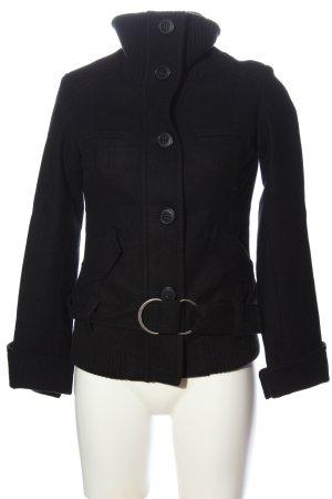 BSK by Bershka Wełniany płaszcz czarny W stylu casual