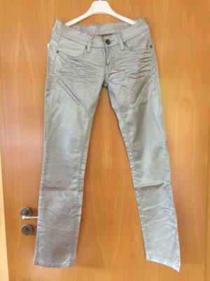 Pantalon cinq poches argenté coton