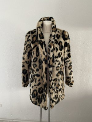 Bubbleroom Leo Fell Jacke Felljacke Pelz Pelzjacke Fake Fur Mantel 36 Beige schwarz so miu cute Style Kate Moss