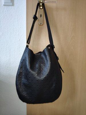 Bucket-Bag aus schwarzem Struktur-Leder